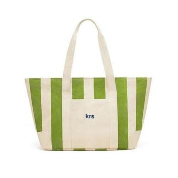 Large Striped Canvas Tote Bag - Green (Pack of 1)