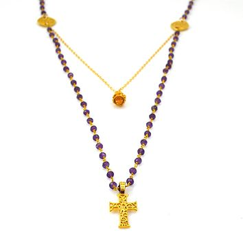 Amethyst and Gold Necklace with Crown and Cross