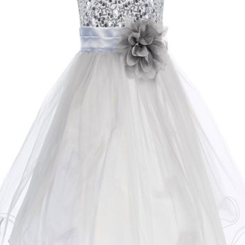 Silver Sequined Bodice Dress with Lettuce Hem Tulle Skirt Girls 2T-14