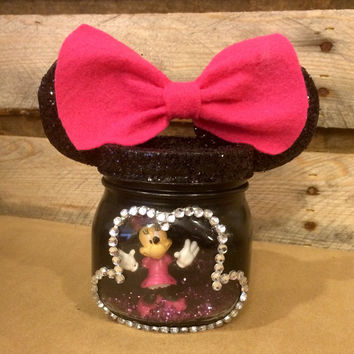 Minnie Mouse Night Light, Minnie Mouse Mason Jar Light, Minnie Mouse LED Light, Disney Night Light, Mason Jar Night Light, Minnie and Mickey