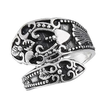 Sterling Silver Dramatic Vintage Spoon Ring