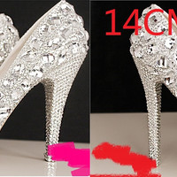 Womens Silver Rhinestone High Stilettos Heels Spring Wedding Prom Dress Party Occasions Pumps Shoes