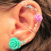 "Non Pierced Ear Cuff  ""Roses are Colorful"" Cartilage Conch Cuff Silver tone Prom WHITE Roses are on Back Order"
