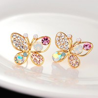 Jewelry Crystal Simulated Pearl Butterfly Stud Earrings Gold