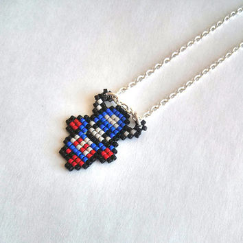 Chibi Captain America Necklace, Handmade, Handbeaded Jewelry, 8bit jewelry, The Avengers