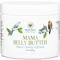 Mama Belly Butter by Best Nest Wellness, Organic Prenatal Skin Care Cream for Pregnancy & Beyond, Reduces Risk of Stretch Marks During Pregnancy, Diminishes Marks After Delivery, 4 Oz