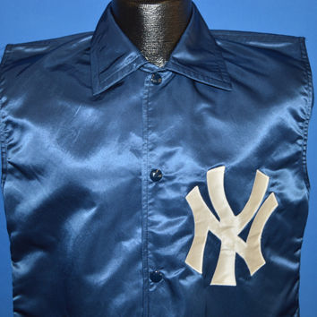 80s New York Yankees Felco Satin Jacket Vest Small