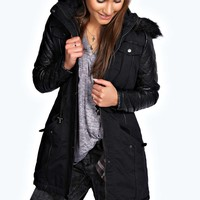 Isabella Quilted PU Sleeve Parka