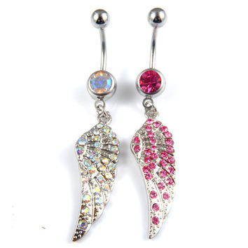 New Charming Dangle Crystal Navel Belly Ring Bling Barbell Button Ring Piercing Body Jewelry = 4804871428