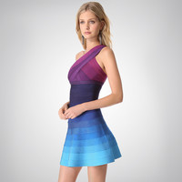 Women's Fashion Bandages Sexy Backless Gradient Slim Dress [4919879940]