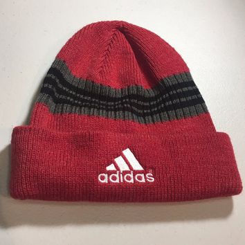 BRAND NEW ADIDAS RED BLACK/GRAY STRIPED KNIT HAT SHIPPING