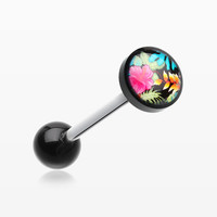 Hawaiian Luau Flower Logo Acrylic Barbell Tongue Ring