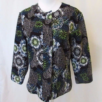 Chico's Women's Jacket Multi Color Floral Beads Jackie O Style