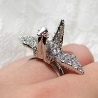 Adjustable Origami Crane Rhinestone Ring