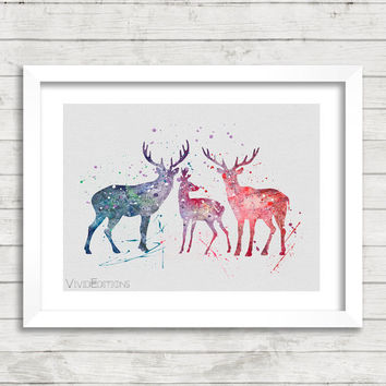 Deer Poster, Watercolor Art Print, Animal Watercolor, Home Decor, Children's Room Art, Gift Idea, Not Framed, Buy 2 Get 1 Free! [No. 1-7]