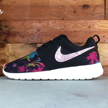 Nike Roshe One Customized by Glitter Kicks - Black/Floral Print