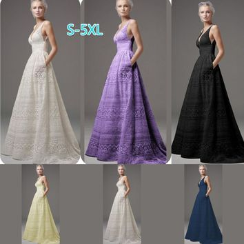 2018 Women Fashion Elegant Sleeveless Wedding Dress Plus Size Lace Bridesmaid Evening Prom Gown Formal Party Dresses Long Dress