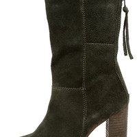 Steve Madden Kaycie Olive Suede Leather High Heel Boots