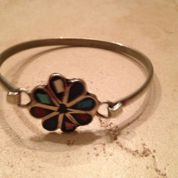 Vintage Silver Bracelet Flower Colorful Inlay Boho Jewelry