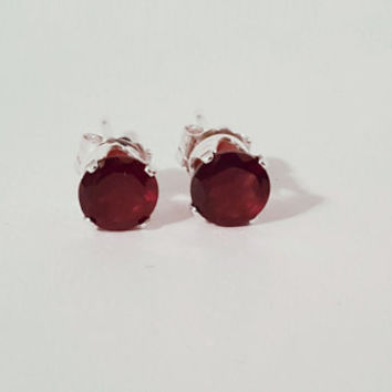 5mm Natural Red Garnet Sterling Silver Stud Earrings. Faceted Gemstones. Handmade Jewelry.