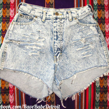 High Waisted Acid Wash Cut-Off Shorts - Can be done for custom order, Email: RaveBabe@outlook.com