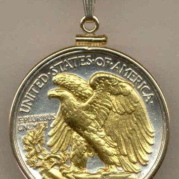 2-Toned Gold on Silver Old U.S. Walking Liberty half dollar (Eagle)  Necklace