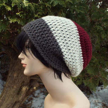 Mens Slouchy Beanie, Oversized Slouch Beanie, Chunky Hat, Baggy Beanie, Slouchy Hat, Burgundy Oatmeal and Brown Crochet Hat