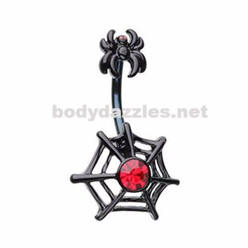 Arachnid Spider Web Belly Button Ring 14ga Navel Ring Surgical Steel Body Jewelry