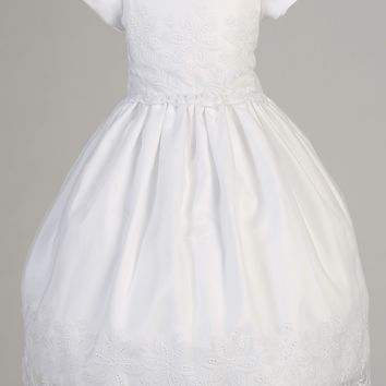 Girls Plus Size Organza Communion Dress w. Eyelet Flowers 8x-12x