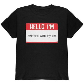 CREYCY8 Halloween Hello I'm Obsessed With My Cat Youth T Shirt