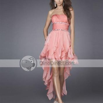 Vienna Satin Organza Ruffle Layered Floor Length Cocktail Dresses