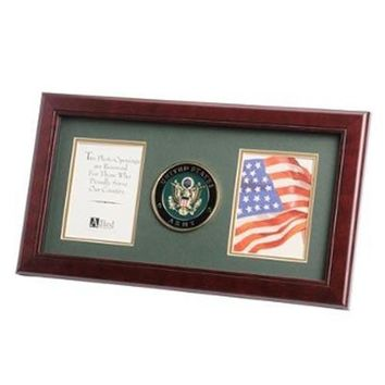U.S. Army Medallion Double Picture Frame Hand Made By Veterans