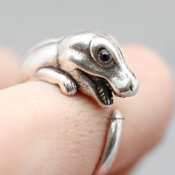 Adjustable Retro Dinosaur Ring / Tyrannosaurus Rings/Jurrassic ring / Tirano dinosaur Burnished ring-in 2color (Antique silver,Antique gold)
