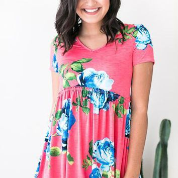 Back to Babydoll CoralPink Floral Top