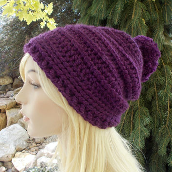 Purple Pom Pom Slouchy Hat