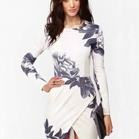 Peony Ink Print Long Sleeve Wrap Slit Bodycon Mini Dress
