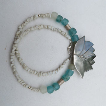 Lotus, fine silver and African recycled glass beads- spiritual statement ZEN jewelry.