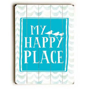 My Happy Place by Artist Leanne Coppola Wood Sign
