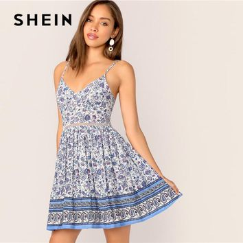 f1adf293df SHEIN Paisley Print Cut Out Tie Back Button Slip Pleated Summer. * Gender:  Women ...