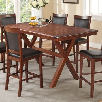 Poundex F2263-1387 7 pc country post ii collection acacia finish wood counter height dining table set with faux leather upholstery