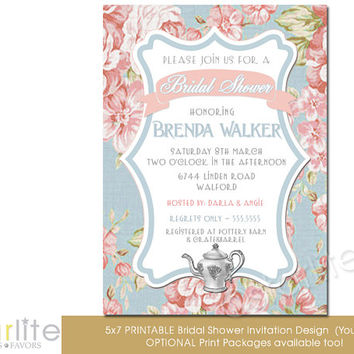 Bridal Shower Invitation - English Tea Floral - Vintage Style - Distressed Shabby Pink Blue, Vintage Chic - unique invitation - You Print