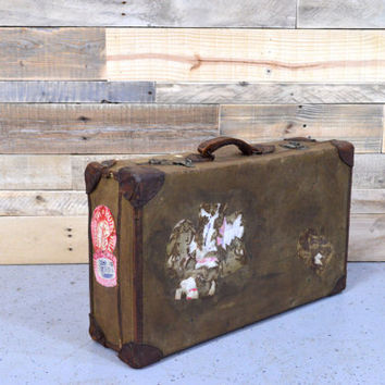 Vintage Leather And Canvas Suitcase, PENDRAGON 1957, Old Suitcase, English Suitcase