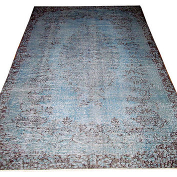 Sale Blue Color Overdyed Handmade Rug  with Medallion Design 8'2'' x 5'5'' feet