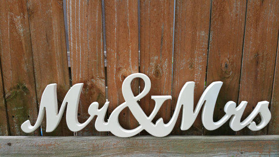 Mr And Mrs Large Wooden Letters: Mr & Mrs Wooden Sign In Elegant Cursive From Lettered Whimsy