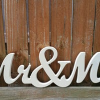 Mr & Mrs Wooden Sign in elegant cursive font