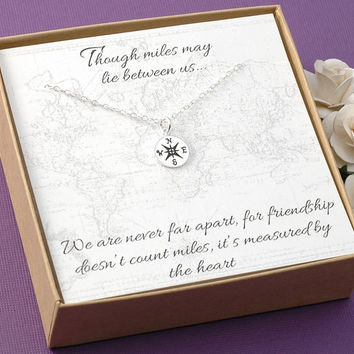 Compass Necklace - Friendship Jewelry, BFF, Best Friends - Silver or Gold Compass Charm