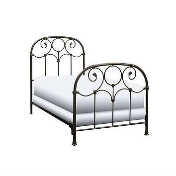 Twin size Metal Bed Frame with Headboard and Footboard in Rusty Gold Finish