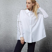 White Button Up Shirt With Fringe Detail