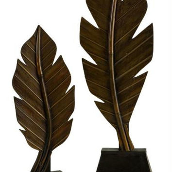2 Autumn Decorations - Wood Pedestals For Standing Leaves
