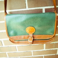 Vintage Dooney and Bourke Hunter Green and Tan Leather Purse Messenger